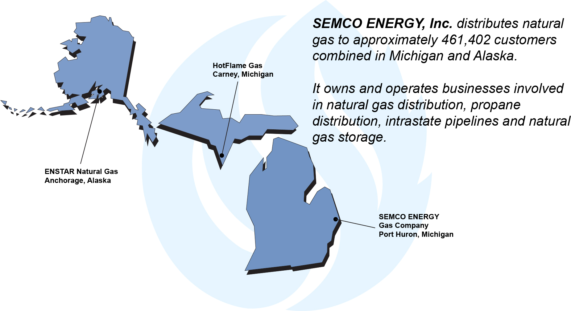 SEMCO ENERGY, Inc. distributes natural gas to approximately 461,402 customers combined in Michigan and Alaska. It owns and operates businesses involved in natural gas distribution, propane distribution, intrastate pipelines and natural gas storage.